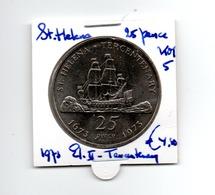 SINT HELENA 25 PENCE 1973 TERCENTENARY - Saint Helena Island