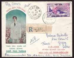 Vietnam, 1955 Registered Cover To France Franked Both Sides -CS49 - Viêt-Nam