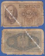 ITALY ITALIA 5 Lire 1940 VICTOR EMANUEL III  And COAT - [ 5] Schatzamt