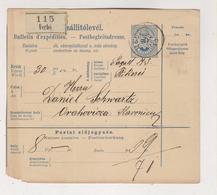 HUNGARY 1895 SLOVAKIA VERBO VRBOVE Parcel Card - Cartas