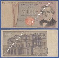 ITALY ITALIA 1000 Lire 1968-81 D VERDI And  SCALA DECR. 10 GENNAIO 1977 E 26 FEBBRAIO 1969 - 1000 Lire