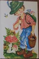 Petit Calendrier Poche 1984 APBP Reproduction Original Peint Avec Bouche Cueillette Champignons Mésange Mercerie Lyon - Calendriers