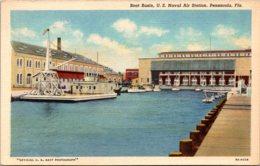 Florida Pensacola U S Naval Air Station Boat Basin Curteich - Pensacola