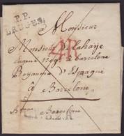 1817. CONSULAR MAIL. BRUSELAS A BARCELONA. MARCA P.P./BRUGES. Y PORTEO 4 REALES. ASPADO FRANQUEO. SELLO PLACADO. - Otros
