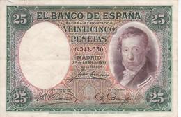 BILLETE DE ESPAÑA DE 25 PTAS DEL AÑO 1931 DE VICENTE LOPEZ - [ 2] 1931-1936 : Repubblica