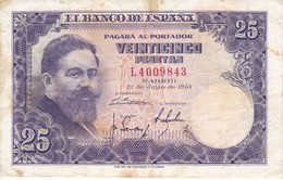 BILLETE DE ESPAÑA DE 25 PTAS DEL AÑO 1954 ISAAC ALBENIZ  SERIE L - [ 3] 1936-1975 : Regime Di Franco