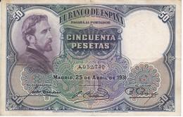 BILLETE DE 50 PTAS DEL AÑO 1931 DE  E. ROSALES SIN SERIE CALIDAD MBC (VF)  (BANKNOTE) - 50 Pesetas