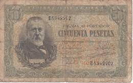 BILLETE DE ESPAÑA DE 50 PTAS DEL 9/01/1940 SERIE D CALIDAD  RC (BANKNOTE) - [ 3] 1936-1975: Regime Van Franco