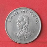 CONGO 5 MAKUTA 1967 -    KM# 9 - (Nº35523) - Congo (République 1960)