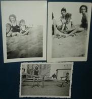 3 Photos Homme , Femmes,enfants ,plage,bikini,maillot De Bain - Anonymous Persons