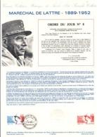 DOCUMENT FDC 1989 MARECHAL DE LATTRE - Documents De La Poste