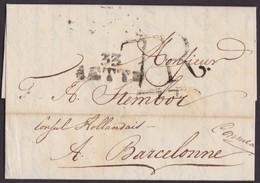 1815. CONSULAR MAIL. CETTE A BARCELONA. MARCA 33/CETTE Y PORTEO 7R REALES. INTERESANTE Y EXTENSO CORREO CONSULAR. - 1801-1848: Precursores XIX