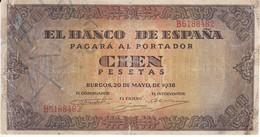 BILLETE DE ESPAÑA DE 100 PTAS 20/05/1938 SERIE B (BANK NOTE) - [ 3] 1936-1975 : Régimen De Franco