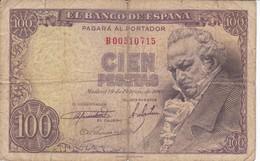 BILLETE DE ESPAÑA DE 100 PTAS 19/02/1946 SERIE B (BANK NOTE) GOYA - [ 3] 1936-1975 : Régimen De Franco