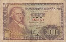 BILLETE DE ESPAÑA DE 100 PTAS DEL 2/05/1948 SERIE B  (BANKNOTE) - [ 3] 1936-1975 : Régimen De Franco