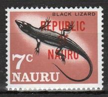 Nauru Single 7c Stamp From 1968 Definitive Set Overprinted Republic Of Nauru. - Nauru