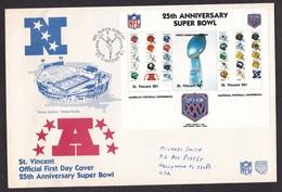 St Vincent: 2x FDC First Day Cover To USA, 1991, Souvenir Sheet, NFL Super Bowl, Football, Sports (minor Discolouring) - St.-Vincent En De Grenadines