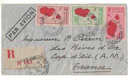 1935 - LETTRE RECOMMANDÉE AVION De TANANARIVE MADAGASCAR AFFRANCHIE À 5F50 TIMBRES POSTE AÉRIENNE Pour CAP D'AIL ALPES - Brieven En Documenten