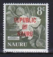 Nauru Single 8c Stamp From 1968 Definitive Set Overprinted Republic Of Nauru. - Nauru