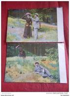 FANTAISIES - COUPLES - HUMOUR - Lot De 6 Cartes Anciennes : Scènes Galantes Champêtres - - Coppie
