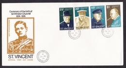 St Vincent: FDC First Day Cover, 1974, 4 Stamps, Winston Churchill, Politics, Cigar (minor Crease) - St.Vincent Und Die Grenadinen