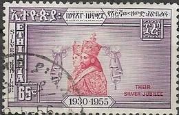ETHIOPIA 1955 Silver Jubilee Of Emperor -  65c. Emperor And Empress In Coronation Robes FU - Äthiopien