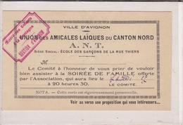 AVIGNON, Union Des Amicales Laïques Du Canton Nord, Invitation Soirée Famille, Oeuvres Des Enfants à La Montagne - Faire-part