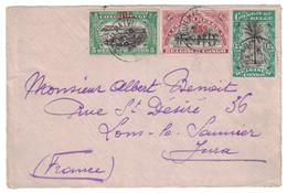 CONGO BELGE - DEVANT DE LETTRE (FRONT COVER) Avec TIMBRES SURCHARGÉS OVERPRINT Pour LONS LE SAUNIER JURA FRANCE - Belgisch-Kongo