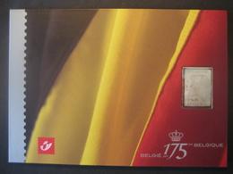 Belgien- Mappe 175 Jahre Belgien Mit Silbermarke Und Block Albert II. - Belgique