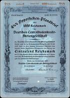 4½ % Hypotheken Pfandbrief 1000 RM Deutschen Centralbodenkredit A.G. Berlin 1937  Socialist Germany 4½ % Stock Bond - Bank & Versicherung