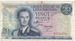 BILLET -GRAND DUCHE DE LUXEMBOURG  VINGT FRANCS- - Luxembourg