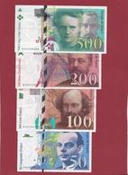 France 4 Billets ---dans L 'état ---voir Scan ---DERNIERE  GAMME COMPLETE  AVANT  L' EURO --lot N °14 - Non Classés
