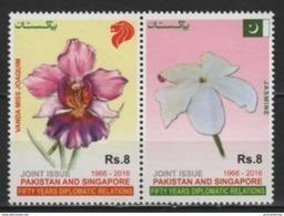 Pakistan (2016)  - Set -  /  Joint With Singapore - Fiori - Flowers - Orchids - Emissions Communes