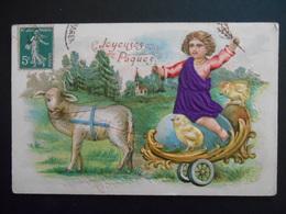 Petit Garçon Sur Petit Char Tiré Par Un Mouton, Oeuf, Poussins Dans Paysage Campagne - Tissu - Gaufrée - Enfants