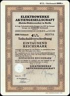 4½ % Reichs Elektrowerke Berlin AG Aktie 1000 RM 1937 / Nr 29764 / Germanys Bond  III Reich Bond Stock Certificate - Elektrizität & Gas