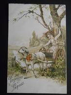 Enfant Assis Sur Petite Charrette Tirée Par Un Mouton Dans Paysage Campagne- Gaufrée - Série 5058 - Altri