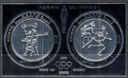 M1125 ✅ Sport Olympics Football Soccer Athletics SILVER Optd. 1970 Manama S/s MNH ** - Fußball-Weltmeisterschaft