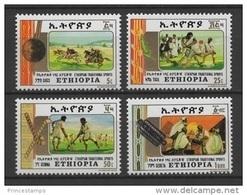 Ethiopia (1984) Yv. 1111/14  /  Traditional Sports - Hockey - Horses - Äthiopien