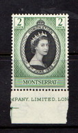 MONTSERRAT    1953    Coronation    2c  Black  And  Green    MNH - Montserrat