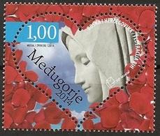 Bosnia & Herzegovina (Mostar) 2014, Medugorje, Heart Shaped Stamp, MNH Unusal Single Stamp - Bosnia And Herzegovina