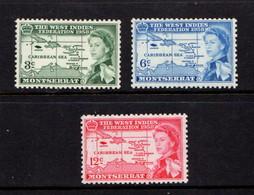 MONTSERRAT    1958    British  Caribbean  Federation    Set  Of  3    MNH - Montserrat