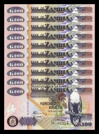 Zambia Lot Bundle 10 Banknotes 100 Kwacha Fish Eagle 2006 Pick 38f SC UNC - Zambia