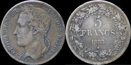 Belgium Leopold I 5 Frank 1833-pos A - 1831-1865: Leopold I