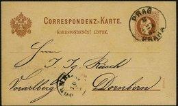 ÖSTERREICH 1882, K1 PRAG-PRAHE AUF GS-POSTKARTE FR.JOS. - Lettres & Documents