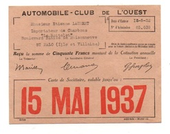 Reçu Automobile-Club De L'Ouest - Carte De Sociétaire Valable Jusqu'au 15 Mai 1937 - Equipo Dental Y Médica