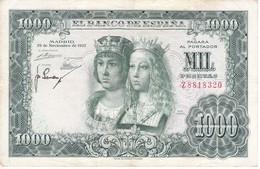 BILLETE DE ESPAÑA DE 1000 PTAS DEL AÑO 1957 DE LOS REYES CATOLICOS SERIE Z (BANKNOTE) - 1000 Pesetas
