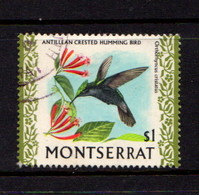 MONTSERRAT    1970    Birds    $1  Crested  Hummingbird    USED - Montserrat