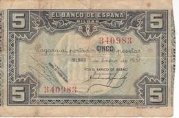 BILLETE DE ESPAÑA 5 PTAS DEL BANCO DE BILBAO 1937 - FIRMA BANCO BILBAO (BANKNOTE) - [ 3] 1936-1975 : Regime Di Franco