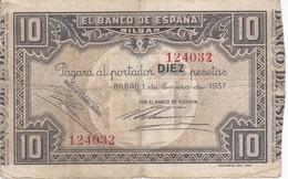 BILLETE DE ESPAÑA 10 PTAS DEL BANCO DE BILBAO 1937 - FIRMA BANCO DE VIZCAYA (BANKNOTE) - 10 Pesetas