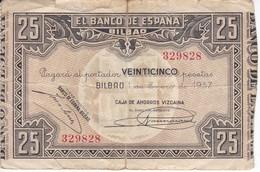 BILLETE DE ESPAÑA 25 PTAS DEL BANCO DE BILBAO 1937 - FIRMA CAJA AHORROS VIZCAINA (BANKNOTE) - [ 3] 1936-1975 : Regime Di Franco